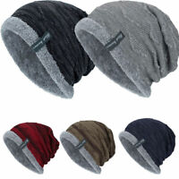 Unisex Winter Slouch Baggy Knitted Beanie Hat Warm Thick Fleece-lined Ski Cap-RO
