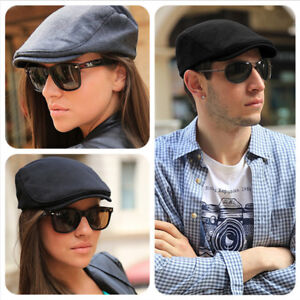 Mens 100% Cotton FLAT CAP Traditional Preformed Peak Soft Lightweight UK SELLER