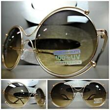 CLASSIC VINTAGE RETRO EDGY Style SUN GLASSES Unique Large Round Rose Gold Frame