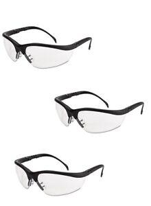 3 Pair Crews Klondike Safety Glasses Matte Black Frame Clear Lens KD110AF