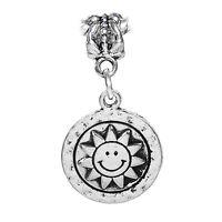 Sun Face Smiling Sunflower Hammered Metal Dangle Charm for European Bracelets
