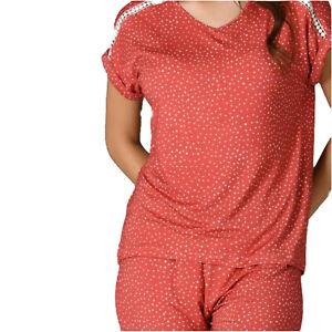 Damen Schlafanzug Pyjama Nachtwäsche Zweiteiliger Lange Hose Sommer-Set 66667