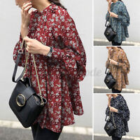 Women Long Sleeve Oversized Tops Floral Loose Casual Ethnic Tee Shirt Blouse NEW