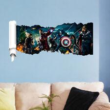Captain-America Super Hero Avengers Wall Crack Decal Sticker Boys Kid Bedroom