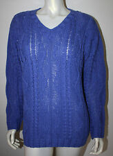 ARAN CRAFTS Ireland Royal Blue Wool LS Cable Knit V Neck Sweater M Cotton