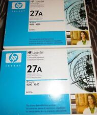 2 New Genuine Factory Sealed HP 27A Laser Toner Cartridges in the Brite Blue Box