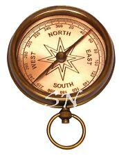 Nautical Brass Antique Pocket Compass Vintage Brass Compass