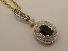 9ct Solid Yellow & White Gold, Blue Australian Sapphire & 11x Diamond Pendant