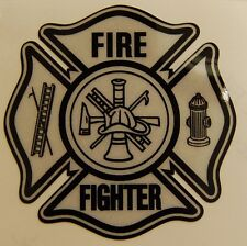 "Firefighter Decal on white reflective vinyl, 3""wide  #FD129"