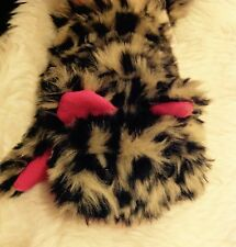 Girls Novelty Fluffy fun fur Leopard animal ears pink Warm Winter Mittens 3-5 ys
