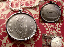 "1942 IRISH SILVER HORSE CROWN COIN PENDANT w/ 24"" .925 Italian Silver Rope Chain"