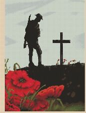 Cross Stitch Chart  Lest we forget  Remembrance Day soldier flowerpower37-uk