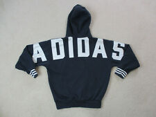 Adidas Sweater Adult Extra Small Blue White Spell Out Trefoil Hooded Pullover *
