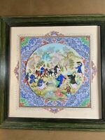 """""""Persian Figures Scene"""" Gouache On Bone & Paper Painting With Decorated Matte"""