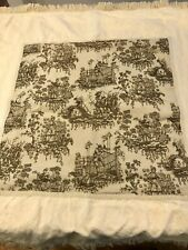 "Cream French Country Toile Fringed Throw 57""W x 45"" L"