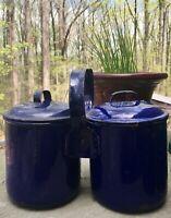 Vintage Antique Enamelware Cobalt Blue Handled Double Milk Cans Jugs Primitive