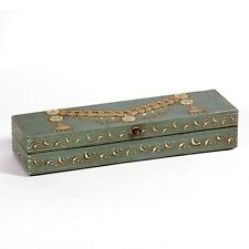 HAND Painted Decorative Trinket Jewellery Ornamental BOX Long Teal Antique 23cmL