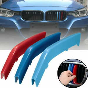 M Tri-Color ABS Insert Trim Front Kidney Grill For BMW 3 Series M Sport F30 F31