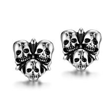 "Antique Silver Plated Earrings Stud  Push Back Skull .52"" L216"