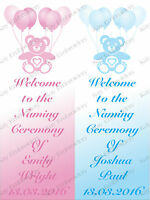 PERSONALISED NAMING DAY LARGE PAPER VERTICAL DOOR BANNER WITH TEDDIES DESIGN