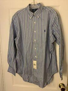 NWT Ralph Lauren L/S Blue Striped Cotton Dress Shirt sz - 16 32/33 Retail $85.00