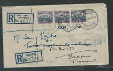 SOUTH  AFRICA  (P2504B) 2D CYLINDER STRIP OF 3 WITH 2 DIFF REG LABELS 1951