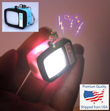 Vintage 60's 70's 80' Television Tv Keychains Led Flashlight & Sound Cute Funny