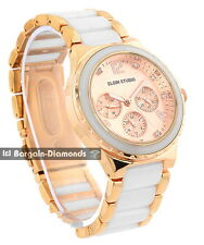lady Elgin rose gold white ceramic business party watch day date bracelet