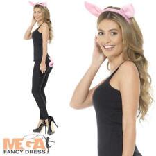 Adult Pig Kit Ladies Fancy Dress Ears Tail Farm Animal Womens Costume Accessory