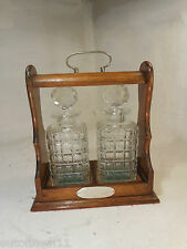 Vintage 2 Glass Decanter Oak Tantalus ref 2866
