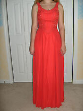 TIFFANY DESIGNS GOWN 4 6 8 CORAL PINK SILK FORMAL BALL GOWN WEDDING PROM PAGEANT