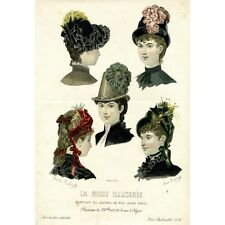 "Antique French Fashion Print, ""Chapeaux"" (Hats), La Mode Illustrée, 1885"