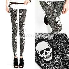 Women Gothic Vintage Skull Emo Floral Leggings Pants Stretchy Milk Silk