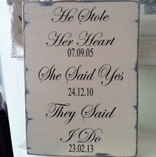 Shabby Wedding Sign Chic Distressed Large Gift Easel Sitter Personalised