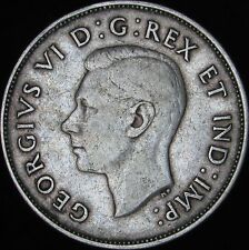 1940 VF+ Canada Silver 50 Cents (Fifty, Half) - KM# 36 - Free Shipping - JG