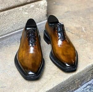 Handmade Men's Genuine Tan Leather Oxford Lace up Shoes