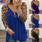 Womens Leopard Long Sleeve Tops Ladies Casual Loose Cold Shoulder Blouse T-shirt