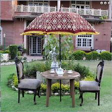 Silk zari embroidered Maroon color garden umbrella big sun protect patio parasol