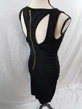 Cache Womens XS Black Cut Out Ruched Bodycon Evening Dress Sleeveless Sheath