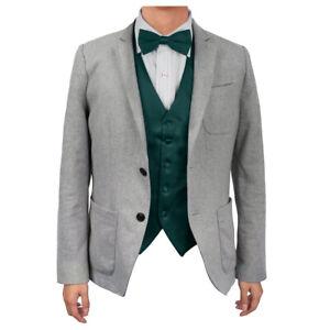Dark Green Solid Microfiber Vest Satin Groomsmen Bow Tie Dan Smith DGEE0005