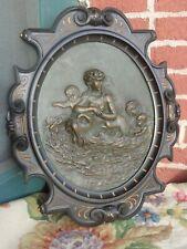 Antique Victorian Mythological Relief Repousse Nude Lady Bronze Patina Plaque