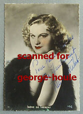 IRENE DE TREBERT - TINTED  PHOTO SIGNED  - VTG - SWING - ZAZOU -  BARE SHOULDER