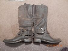 Maurices Brown Suede faux Bomber Jacket type look riding Boots Womens Size 8m