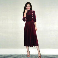 Occident Women's Velvet Long Sleeve Collared Fashion Slim Dress Ballgown SZS-2XL