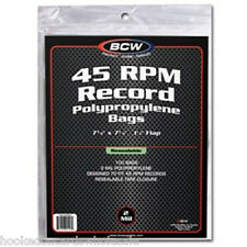 200 BCW Record Covers 45 rpm Plastic Outer Bags Holders - RESEALABLE