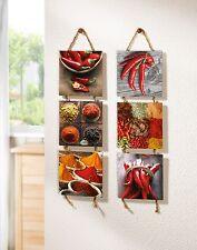 Wandhänger 2 er Set Bild Küchendeko Wanddeko Chili Pepperoni Wandbilder Deko rot