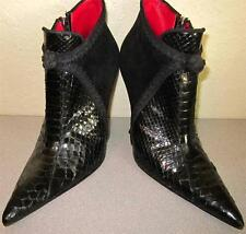 "CESARE PACIOTTI Python Snake & Suede Ankle Bootie Sz. 8/38 High Heel 4"" Black"