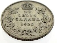 1920 Canada Ten 10 Cent Silver Dime Canadian Circulated George V Coin M066