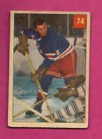 1954-55 PARKHURST # 74 RANGERS DEAN PRENTICE ROOKIE  CARD  (INV# A7774)