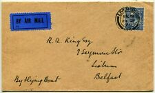 Great Britain Liverpool Lisburn Belfast Flying Boat Airmail Cover England 1928